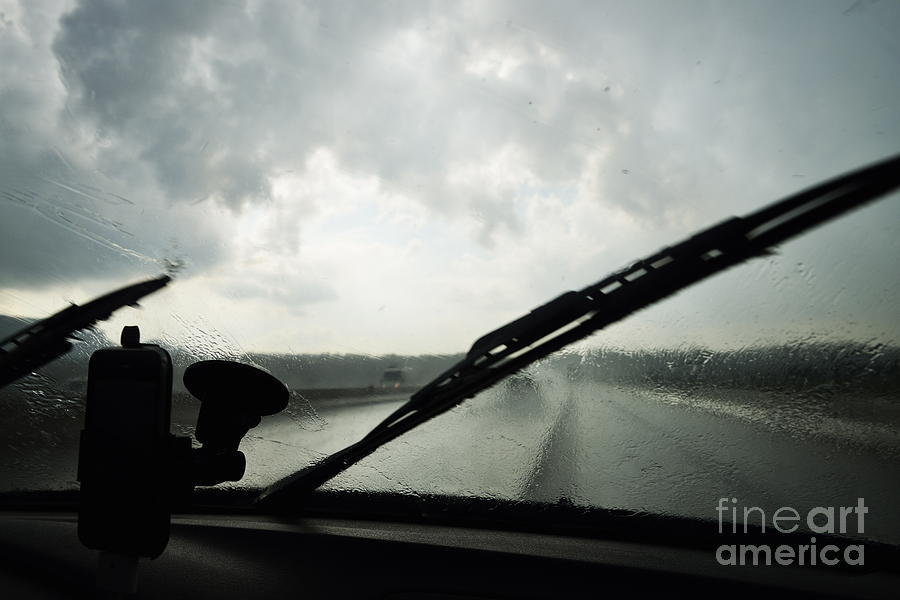 Risk Photograph - Car Windshield By Heavy Rains On Road by Sami Sarkis