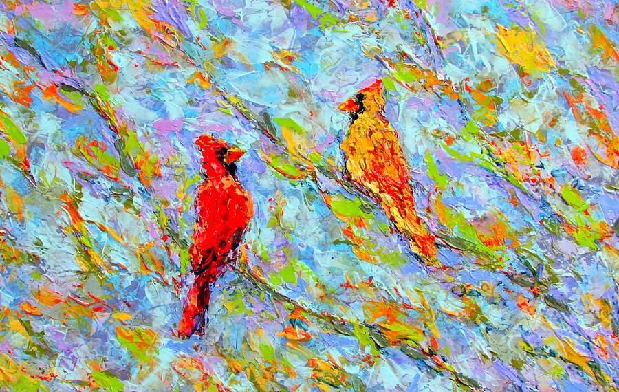 Cardinals Painting - Car4dinals by Kat Griffin