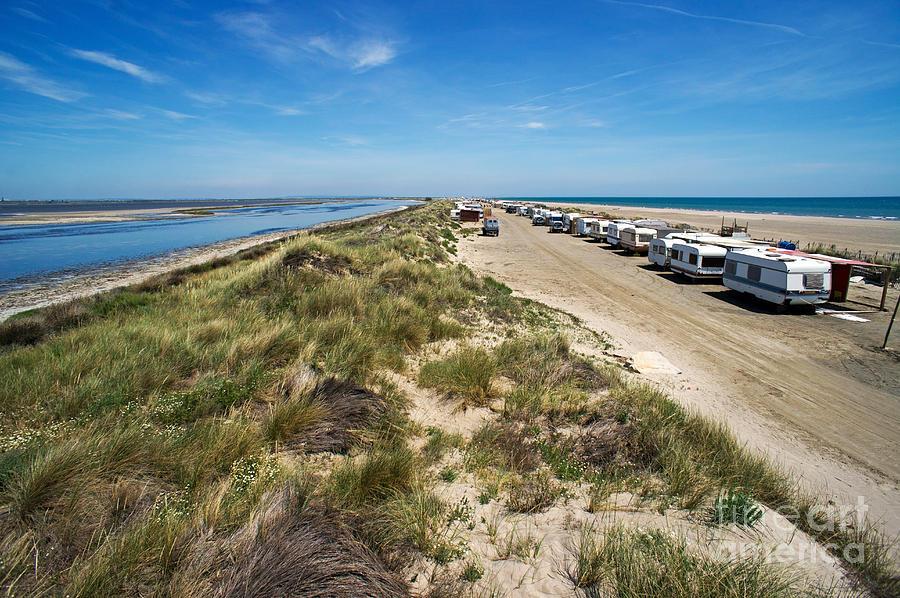 Tranquil Scene Photograph - Caravans Aligned On Beach by Sami Sarkis