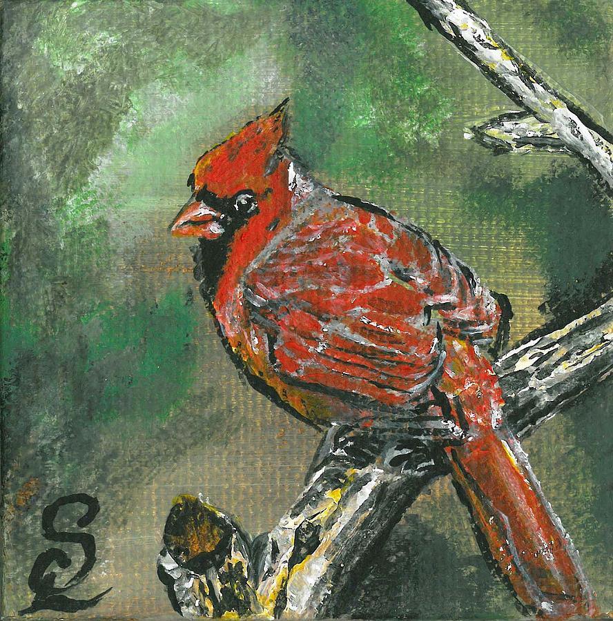 Wildlife Painting - Cardinal 1 by Sarah Lowe