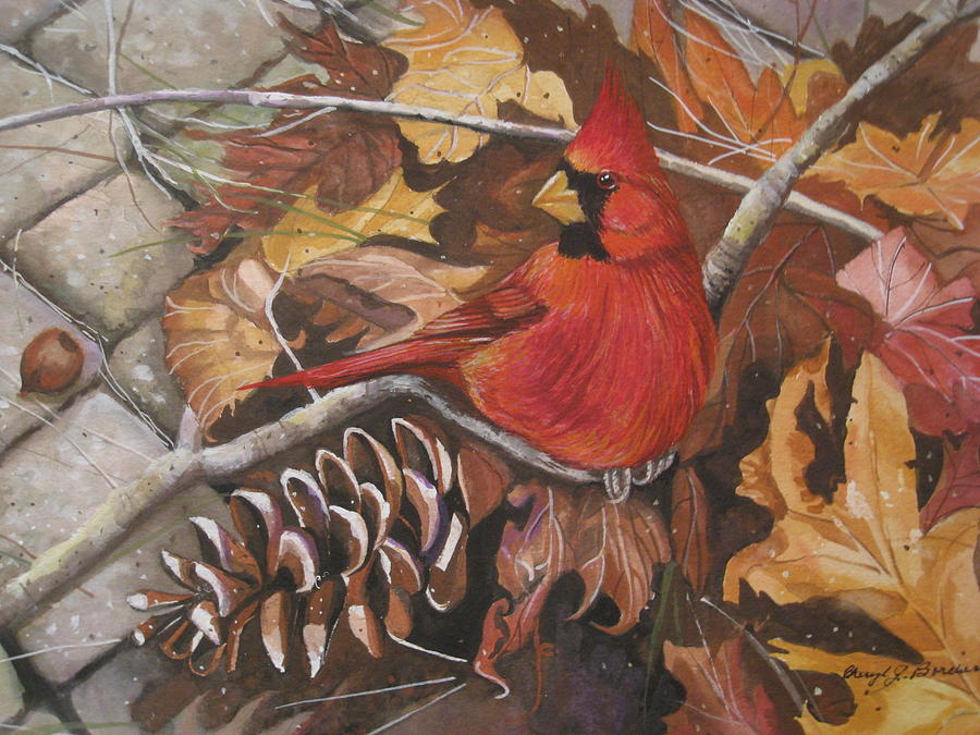 Pine Cone Painting - Cardinal Color by Cheryl Borchert