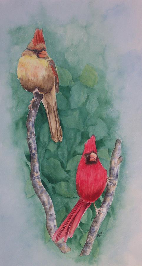 Cardinal Painting - Cardinal Companions by Rhonda Leonard