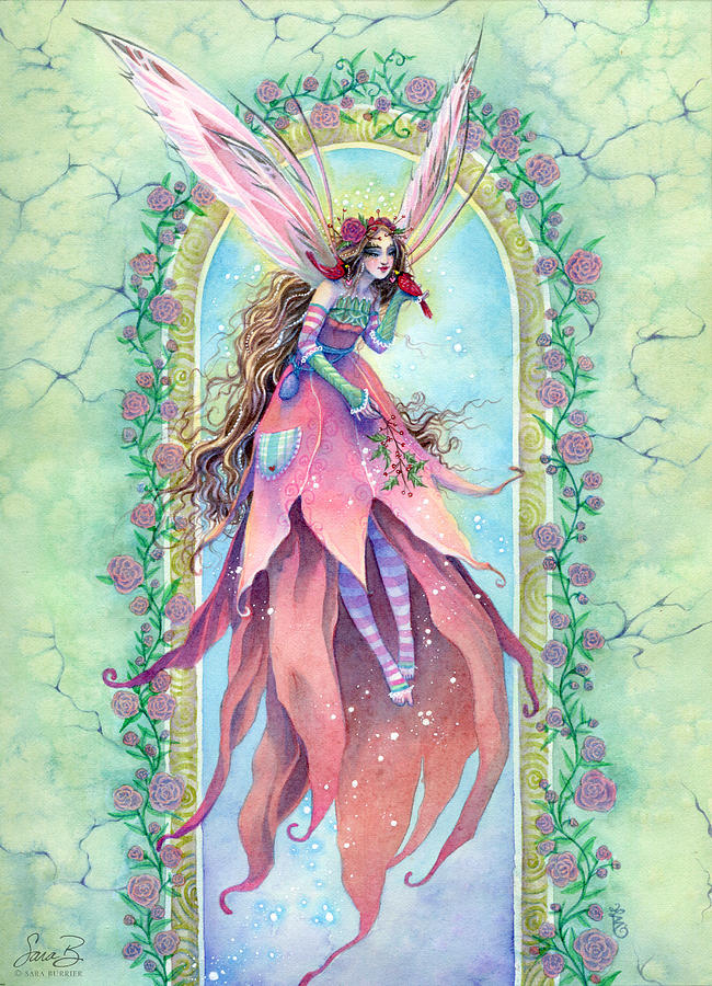 Fairy Painting - Cardinal Fairy by Sara Burrier