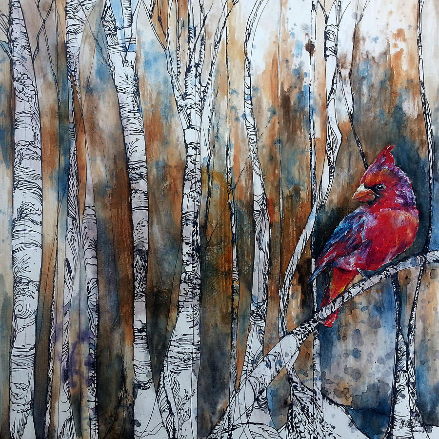 Cardinal In Birch Tree Forest Painting By Christy Freeman