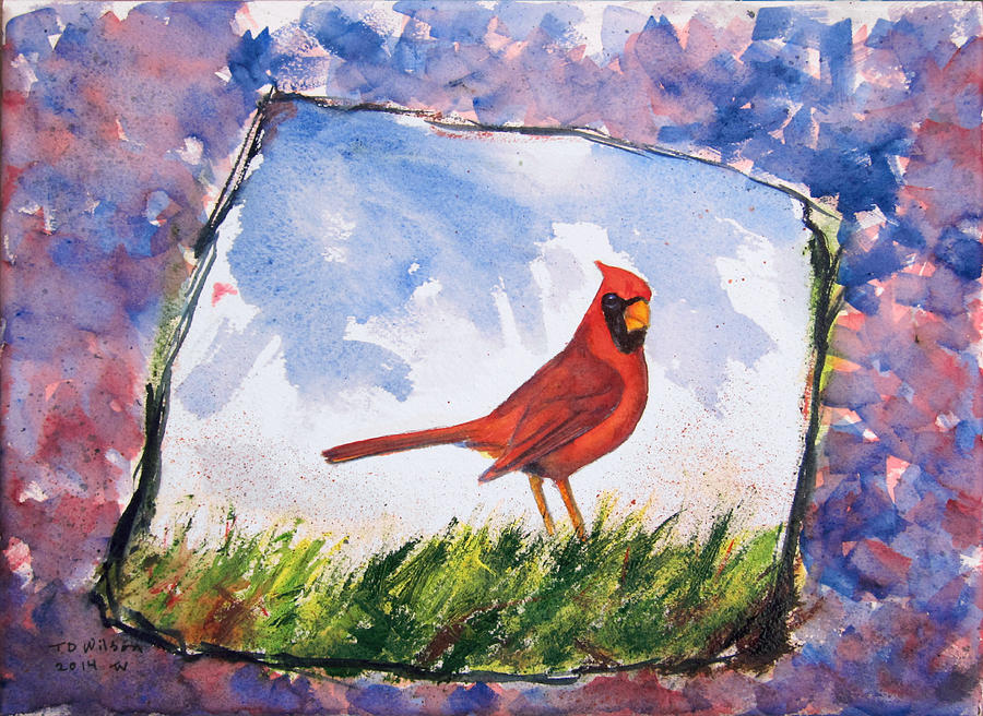 Cardinal in grass - jaggy outline by TD Wilson