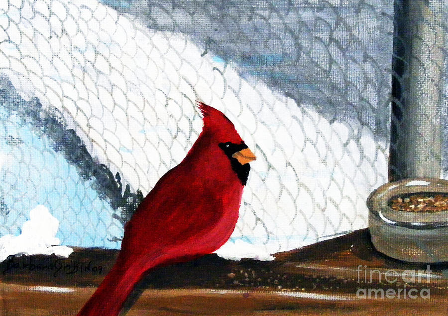 Cardinal Painting - Cardinal In The Dogpound by Barbara Griffin
