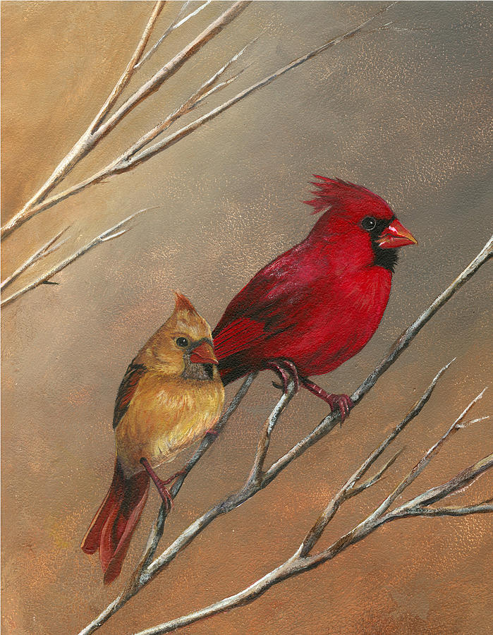 Male And Female Cardinal Painting - Cardinal Mates by Terri  Meyer