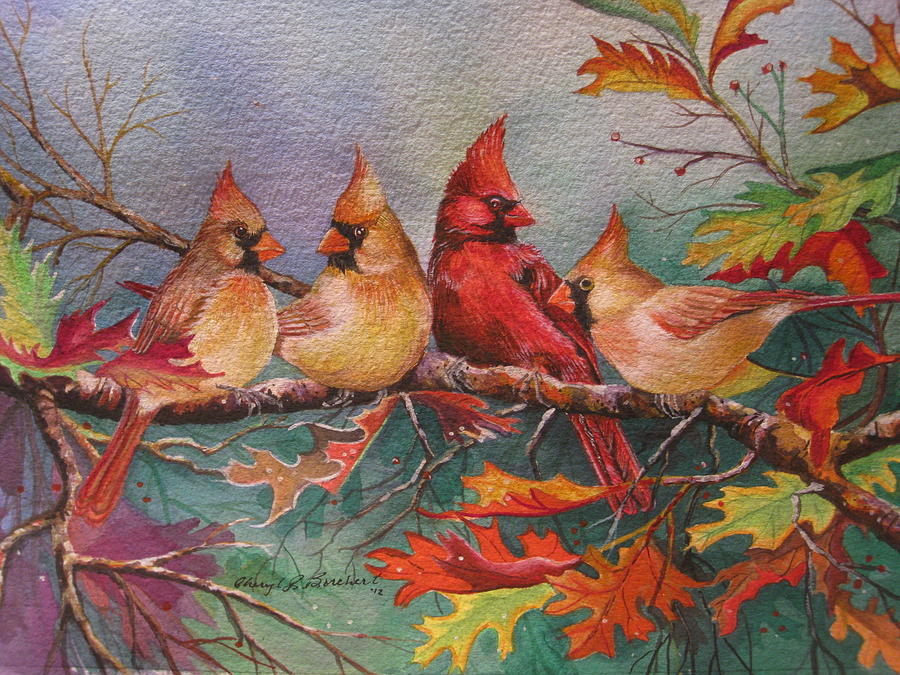 Cheryl Painting - Cardinal Musings by Cheryl Borchert