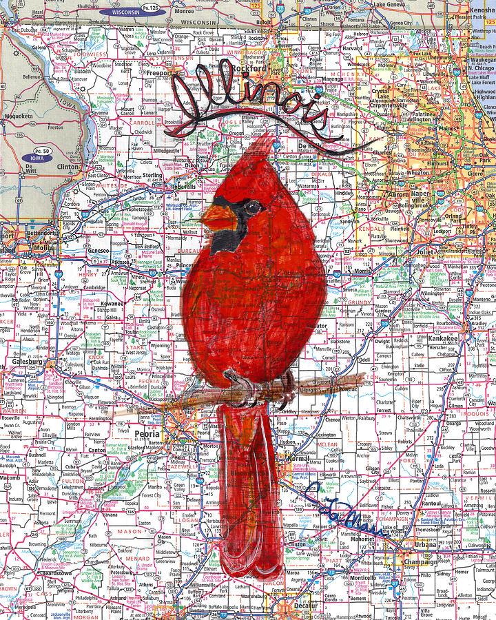 Cardinal The Illinois State Bird Mixed Media By Cherri Lamarr