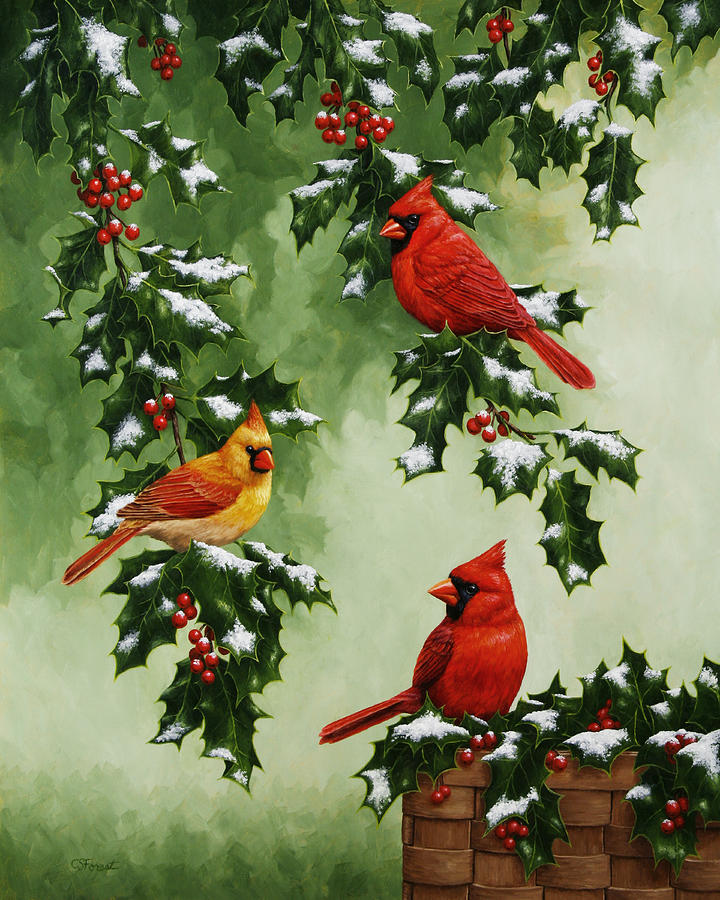 Bird Painting - Cardinals And Holly - Version With Snow by Crista Forest