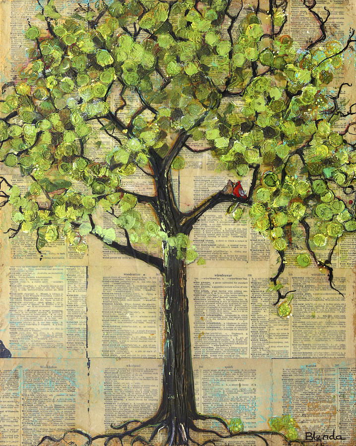 Art Painting - Cardinals In A Tree by Blenda Studio