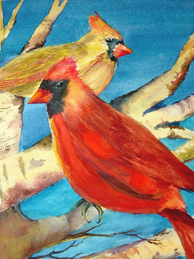 Birds Painting - Cardinals In The Old Apple Tree by Marsha Woods