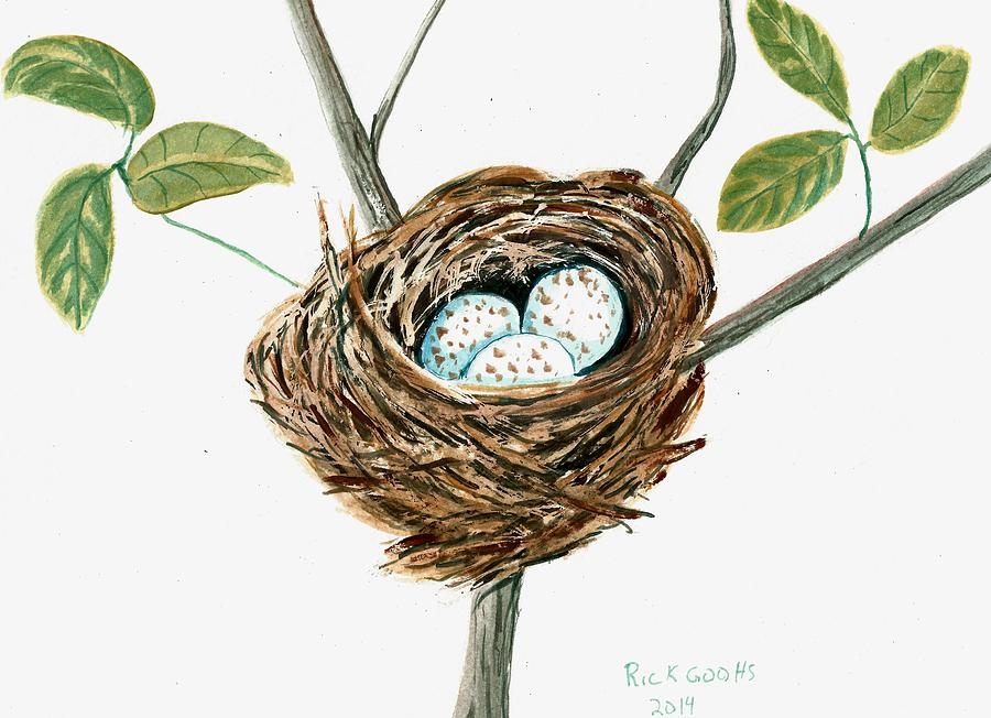 Cardinal Nest Painting - Cardinals Nest by Richard Goohs