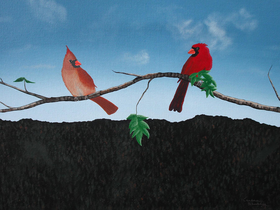Birds Painting - Cardinals No. 2 by Candace Shockley