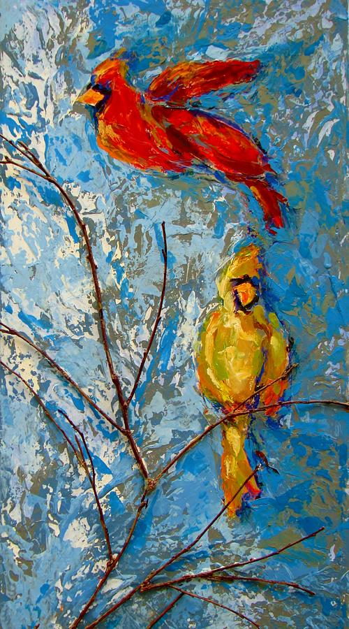 Birds Painting - Cardinals On Twig by Kat Griffin