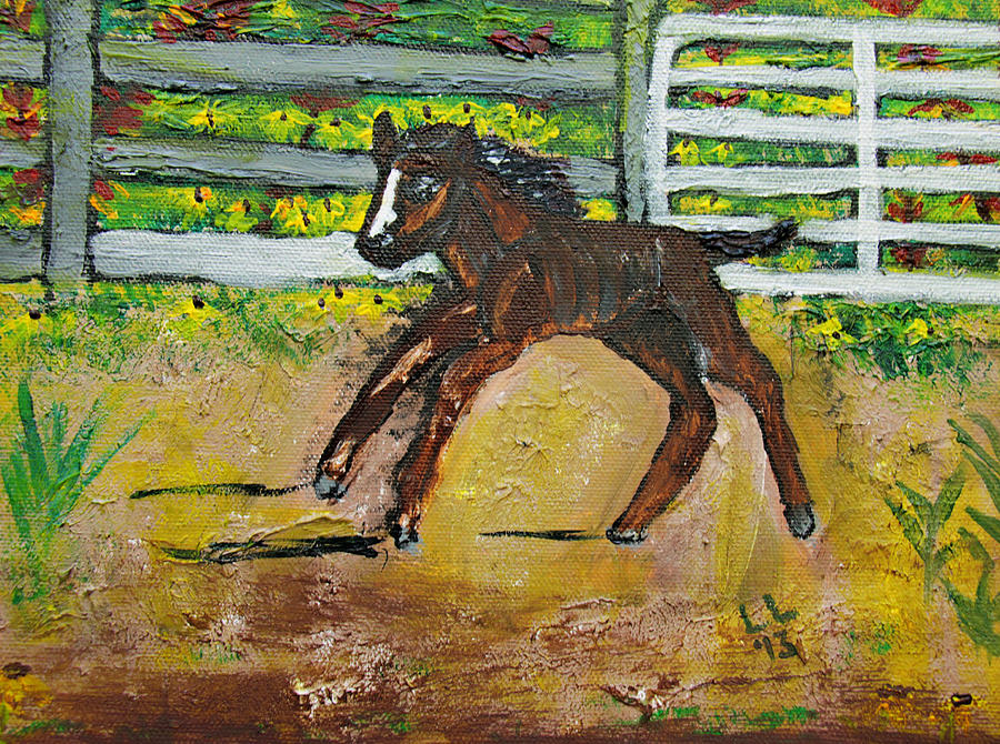 Acrylic Painting - Carefree Pony by Laura Lawless