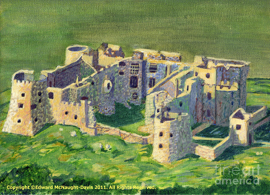Carew Castle Aerial Painting by Edward McNaught-Davis