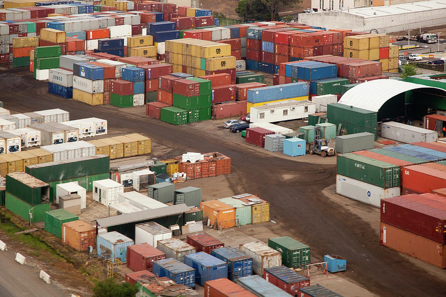 Cargo Containers In A Freight Yard Photograph by Tobias Titz
