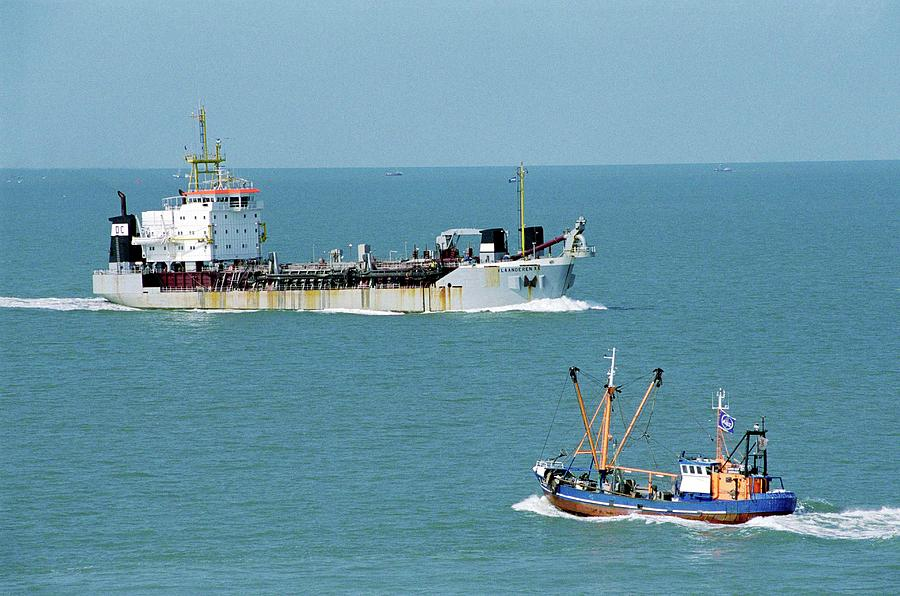 Ship Photograph - Cargo Ship And Fishing Boat by Christophe Vander Eecken/reporters/science Photo Library