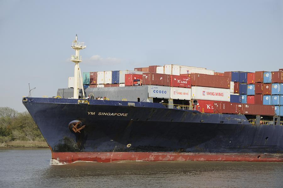 Cargo Ship Photograph - Cargo Ship On The River by Bradford Martin