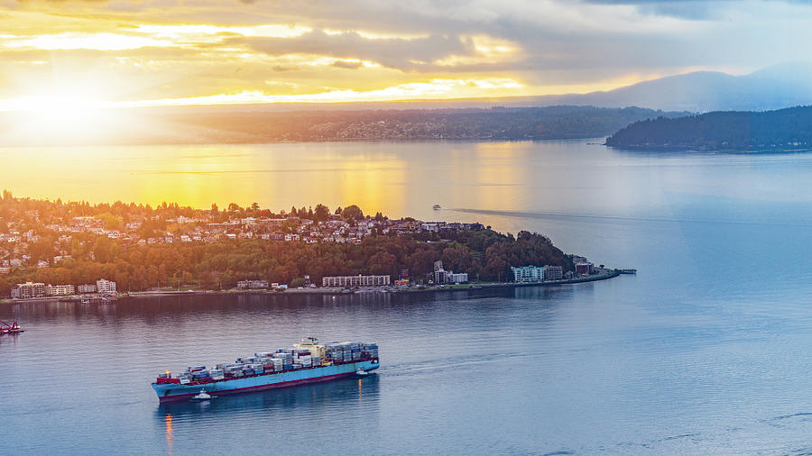 Cargo Ship Through Puget Sound In Sunset Photograph by Onest Mistic