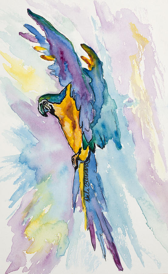 Parrot Painting - Caribbean Blue Macaw by Dale Bernard