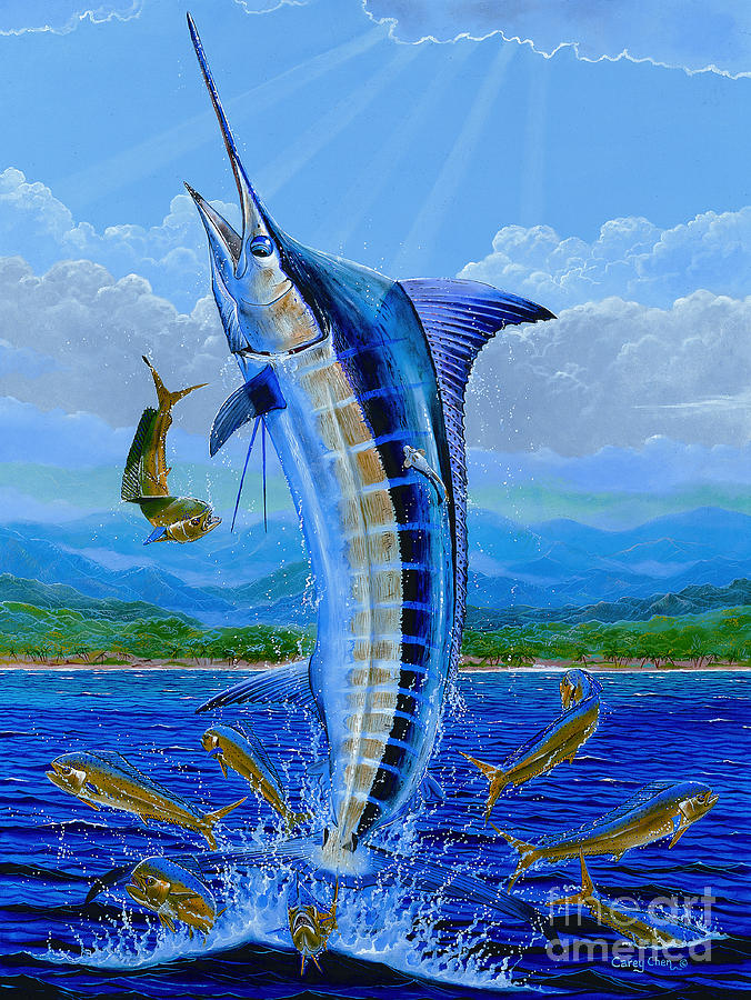 Blue Marlin Painting - Caribbean Blue Off0041 by Carey Chen