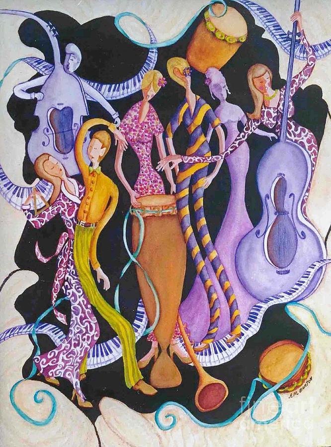 Dancers Painting - Caribbean Calypso by Arleen Barton