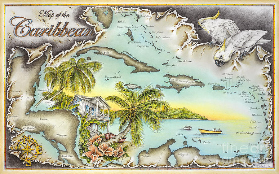 Map Drawing - Caribbean Castaway by Mike Williams