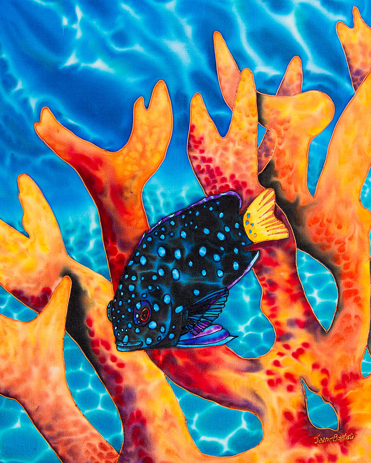 Fish Shower Curtain Painting - Caribbean Damselfish by Daniel Jean-Baptiste