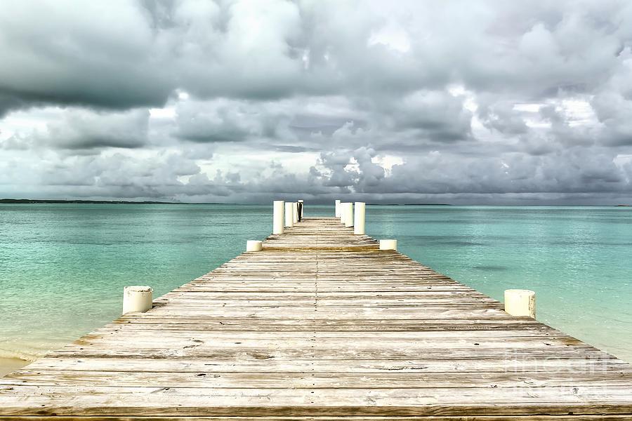 Jetty Photograph - Caribbean Landscape - Isolated Jetty - Bahamas by Pier Giorgio Mariani