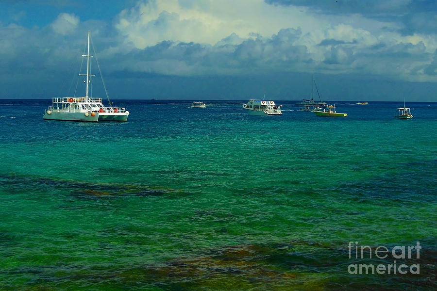 Vacation Photograph - Caribbean Snorkelling Boats by Rachel Duchesne