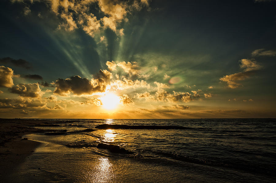 Water Photograph - Caribbean Sunrise by Stuart Deacon