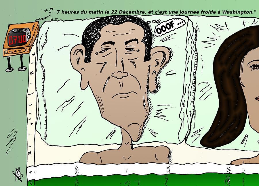 Barack Obama Mixed Media - Caricature De Obama Apres Le Calendrier Maya Fini by OptionsClick BlogArt