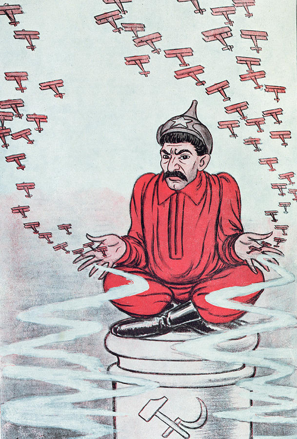 Stalin Painting - Caricature Of Stalin by Adrien Barrere