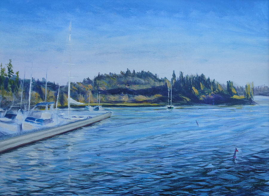 Boats Painting - Carilllon Point Marina by Charles Smith