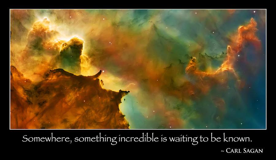 Nasa Images Photograph - Carl Sagan Quote And Carina Nebula 3 by Jennifer Rondinelli Reilly - Fine Art Photography