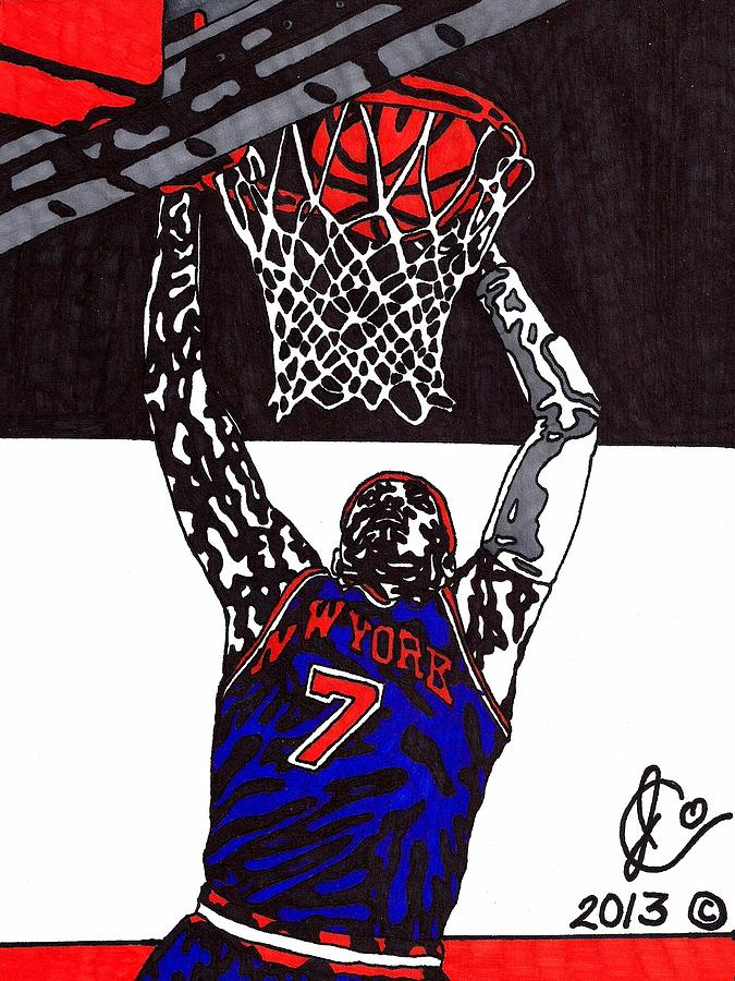 American Basketball Drawing - Carmelo Anthony by Jeremiah Colley