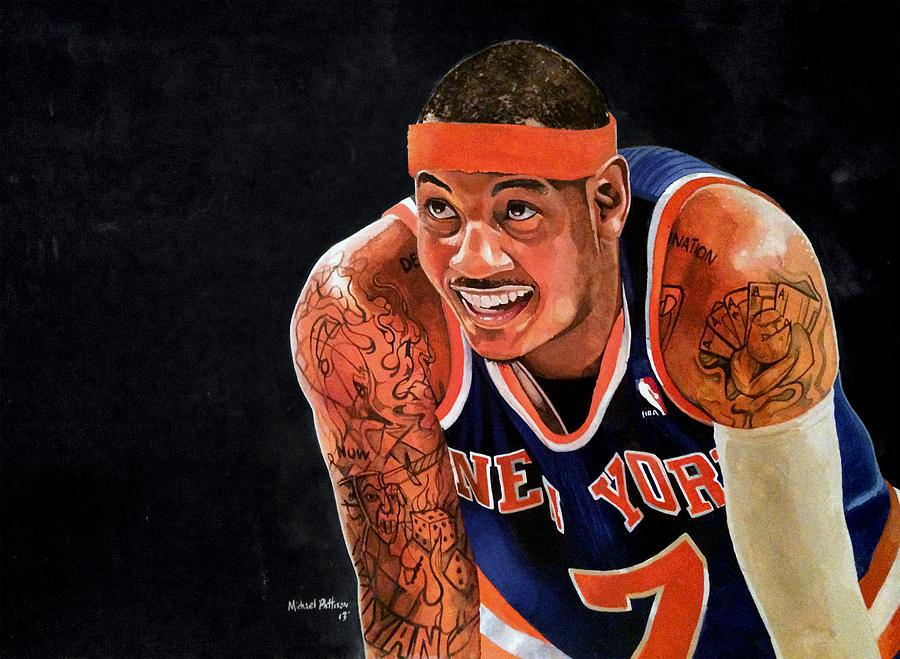 New York Knicks Painting - Carmelo Anthony - New York Knicks by Michael  Pattison