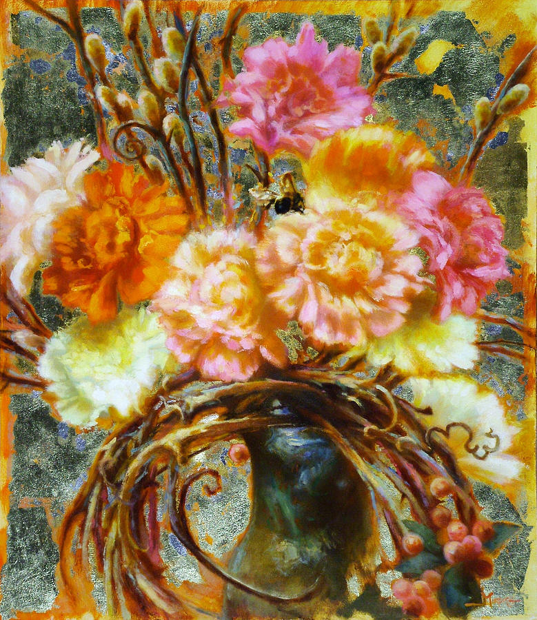 Gold Leaf Painting - Carnation And Bee by John Murdoch