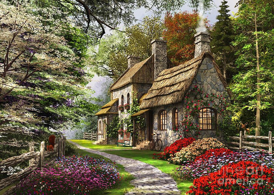 Stone Cottage Digital Art - Carnation Cottage by Dominic Davison
