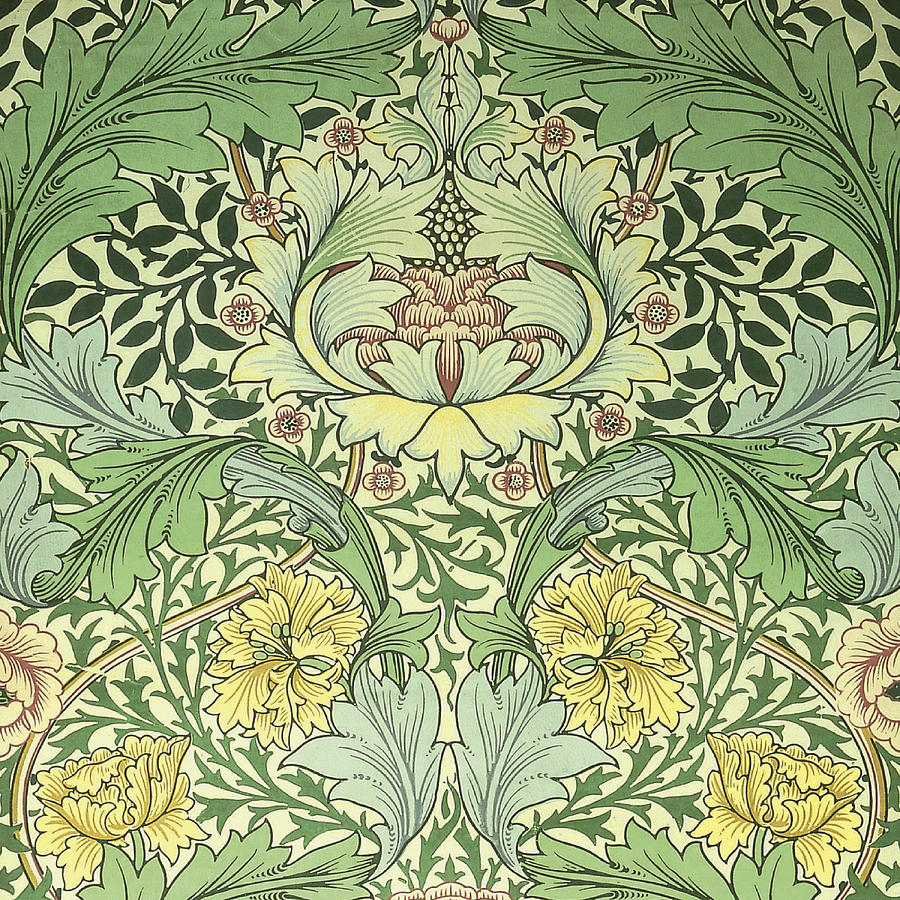William Tapestry - Textile - Carnations Design by William Morris