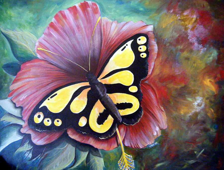 Red Flower Painting - Carnival Butterfly by Owen Lafon