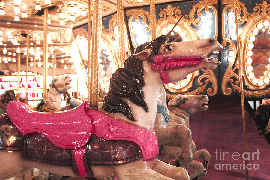 Carnival Carousel Merry Go Round Horses Night Lights