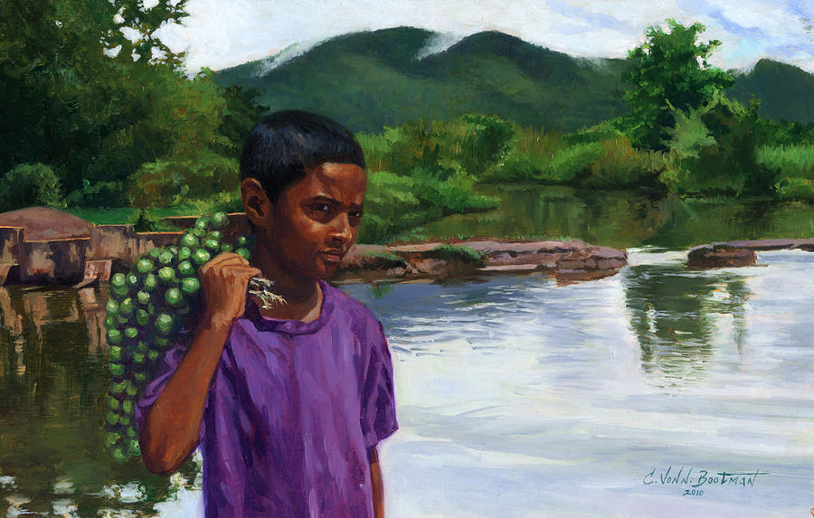 Boy Painting - Caroni Chennette by Colin Bootman