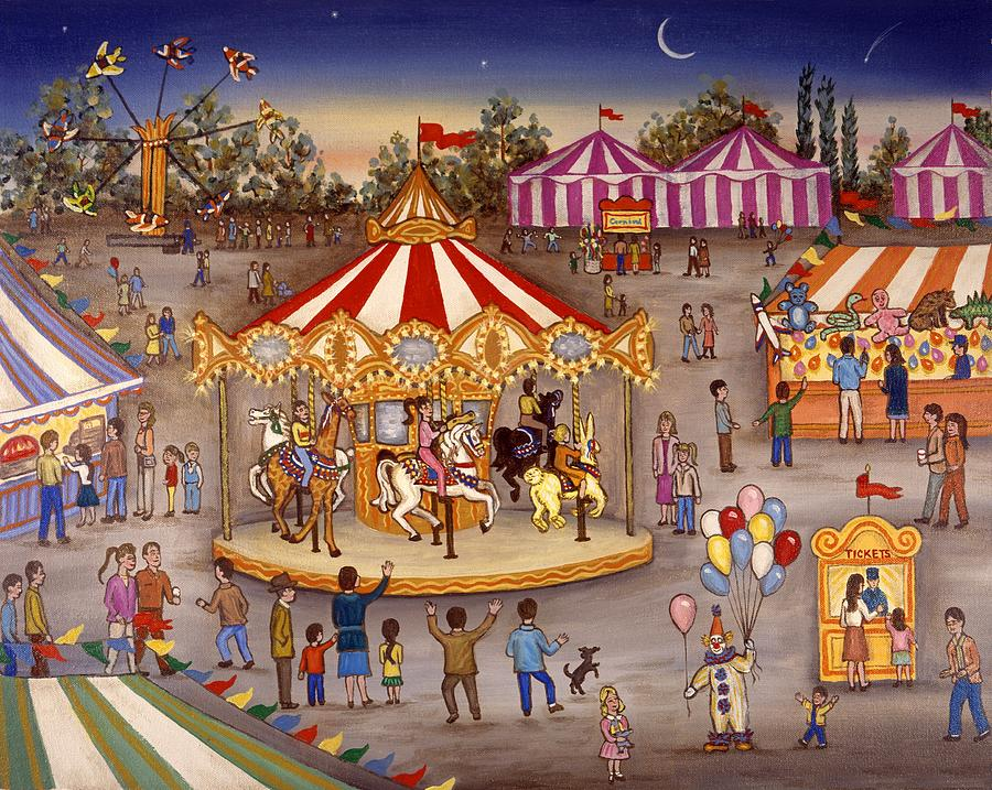 Carousel At The Carnival Painting by Linda Mears