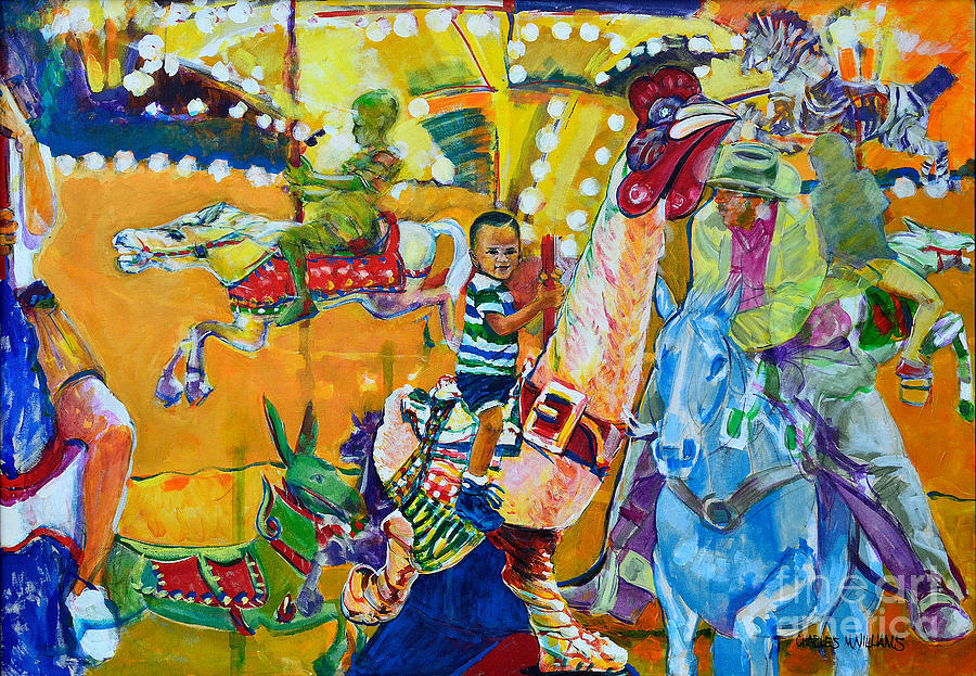 Carousel Painting - Carousel Dreams by Charles M Williams