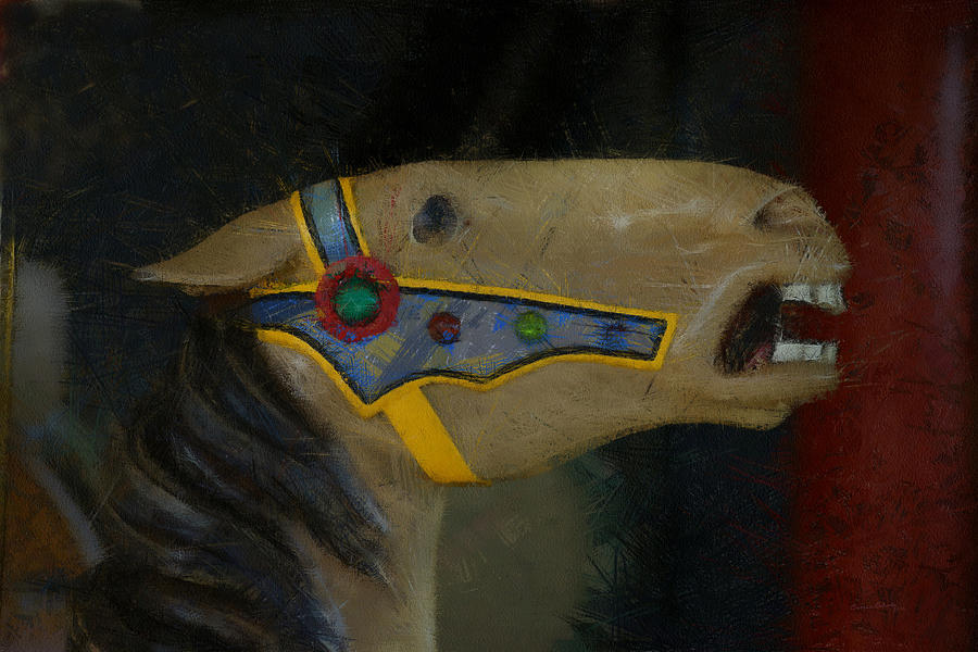 Carousel Horse Digital Art - Carousel Horse Painterly 2 by Ernie Echols