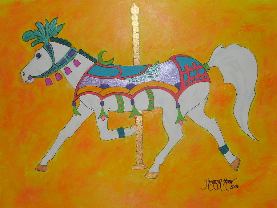 Carousel Horse Painting - Carousel Horse   by Theresa Shaw