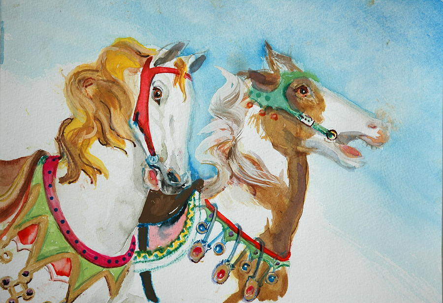 Carousel Horses Painting - Carousel  Horses by Jolyn Kuhn